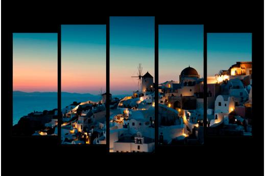 Модульная картина Закат в Санторини